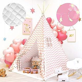 Tiny Land Tipi Kinderzimmer Spielzelt für Kinder mit Matte & Lichterkette drinnen draußen - Segeltuch Kinder Zelt Rosa Chevron Chevron 160cm Hoch