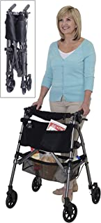 Stander Ez Fold-N-Go Rollator Black Walnut Lightweight Portable Folding Four-Wheeled Rolling Walker for Seniors, Compact Travel Seat, 6