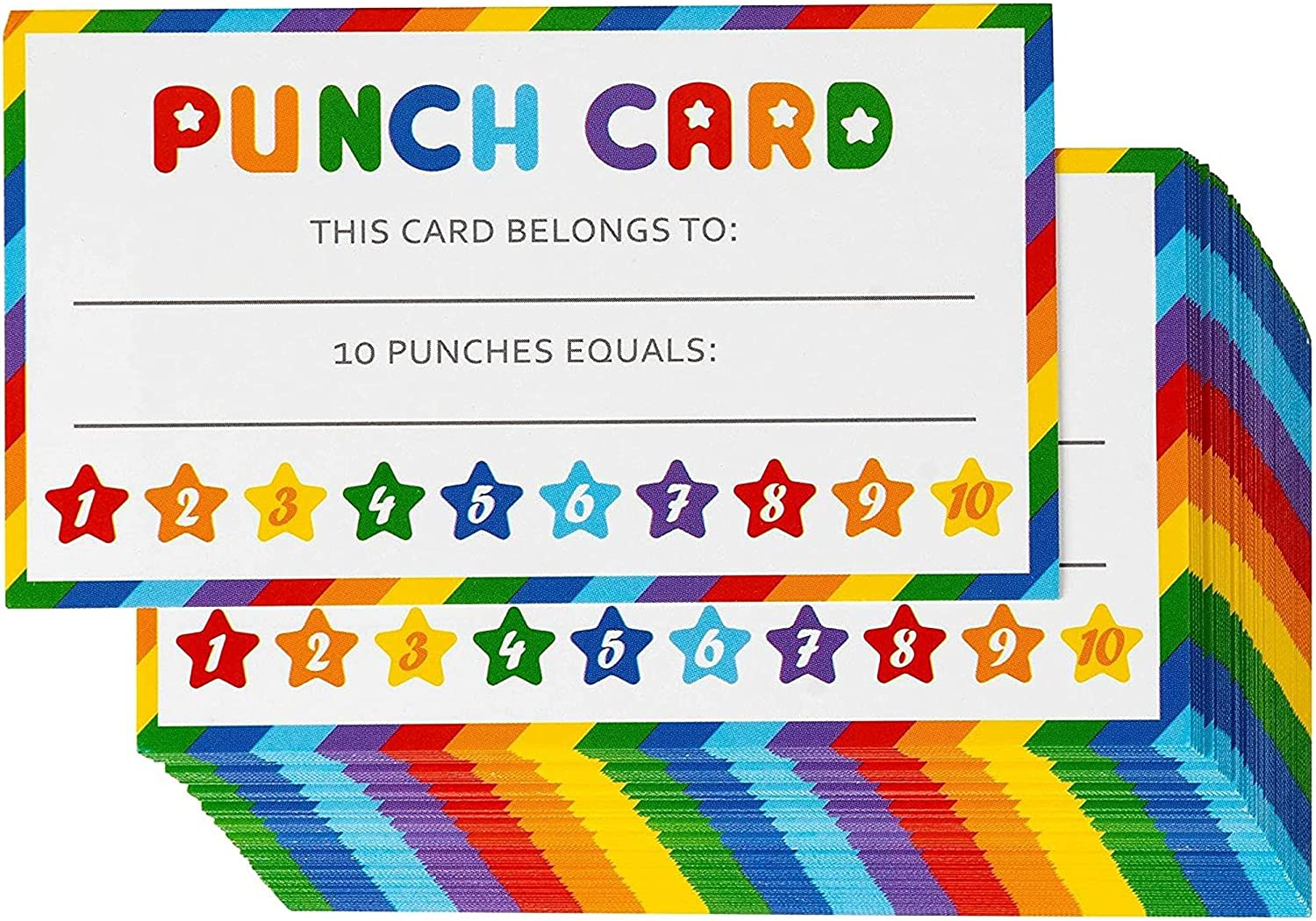 Rainbow Punch Card 2021 for Kids Rewards x Incentive 3.5 Classroom Finally resale start