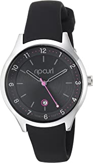 Rip Curl Women's Stainless Steel Quartz Sport Watch with Silicone Strap, Black, 16 (Model: A2915G-BLK)