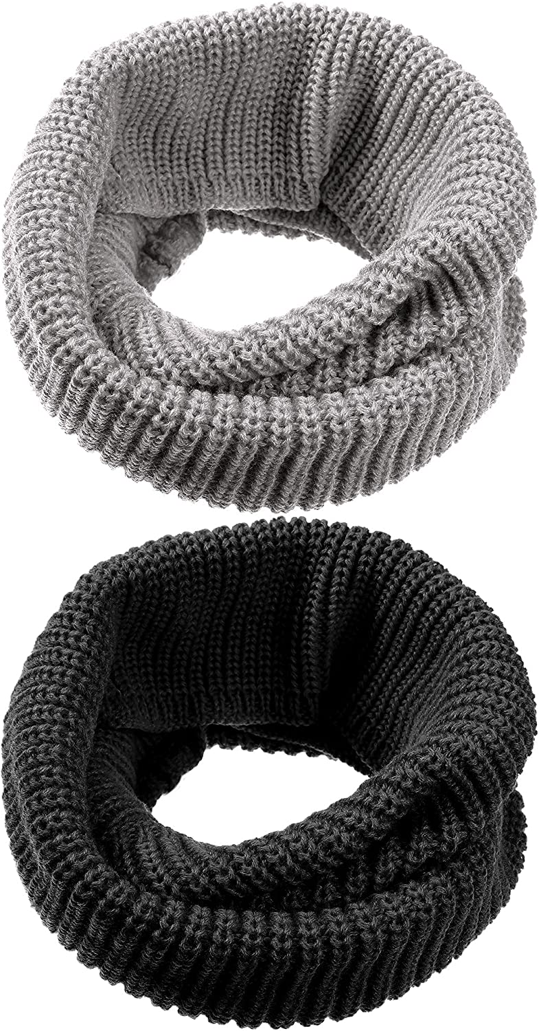 2 Pieces Soft Infinity Scarf Chunky Circle Loop Scarf Ribbed Thick Warm Winter Scarf Knitted Neck Warmer Winter Neck Gaiter for Men Women Kids Winter Outdoor Activities (Light Grey and Black)