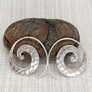 Sterling Silver Hammered 1 intch Spiral Hoops Earrings Handmade Hippie Boho Tribal Shiny Flat Swirl