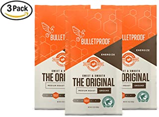 Bulletproof The Original Ground Coffee, Premium Medium Roast Organic Beans, 3-Pack