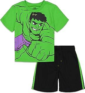 Marvel Avengers Little Boys Varsity Tee and Mesh Shorts Set