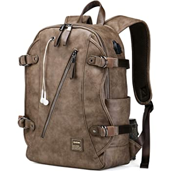Travel Laptop Backpack Vegan Leather Casual Daypacks Fits 15.6 Inch Notebook