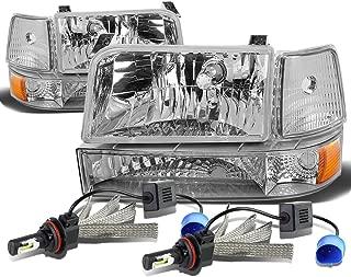 For Ford F-150 Branco 5th Gen 6Pc Chrome Housing Amber Corner Headlight + 9007 LED Conversion Kit