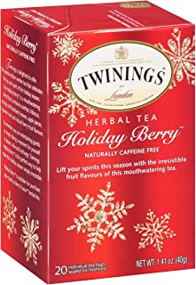Twinings of London Herbal Holiday Tea - 1 Box, 20 Count Organic - Blend of Rosehip, Hibiscus, Orange and Blackberry Leaves, Apple Pieces, Liquorice Root, and Berry Fruit - Irresistible Flavor