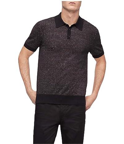 Calvin Klein Short Sleeve Soft Cotton Sweater Polo Shirt (Black) Men