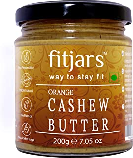 FITJARS Orange Cashew Butter(Kaju)(Orange Zest |Cashews), All Natural Stone Ground Keto Diet Vegan Butters -200 Gm
