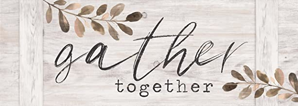 P. Graham Dunn Gather Together Whitewash 20 x 7 Inch Pine Wood Pallet Style Wall Plaque Sign
