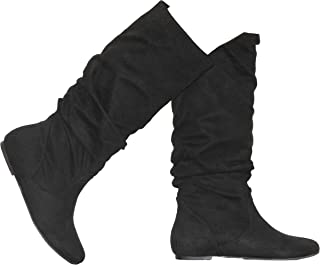 Shoes Women's Forever Faux Suede Round-Toe Mid-Calf Flat Boots
