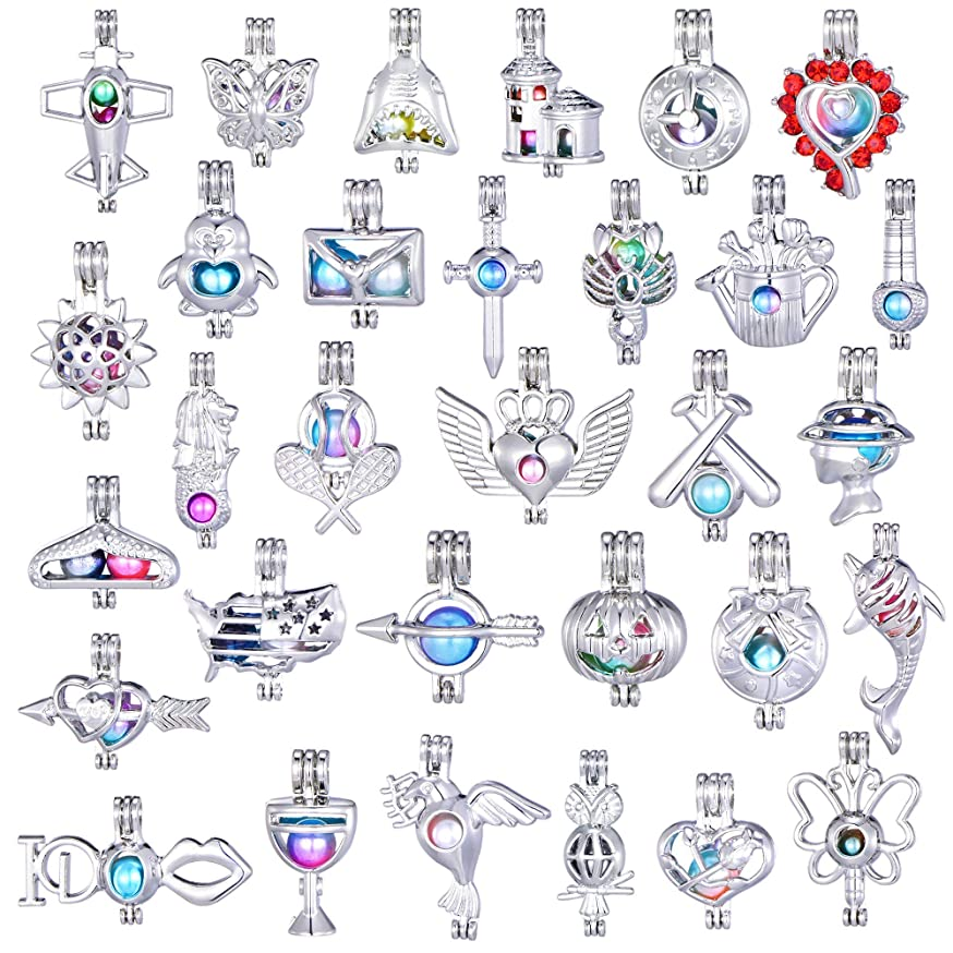 New Arrival 15Pcs Animals and Plants Mixed Pearl Cage Beads Cage Locket Pendant Wish Oyster Pearls Charms Valentine's Day Gift (Style 11)
