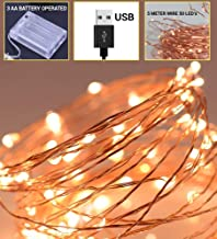 TIED RIBBONS 5 Meter LED Fairy String Lights (50 LED's) USB Powered and 3 AA Battery Operated for Home Hanging Bedroom Tree Birthday Party Decoration