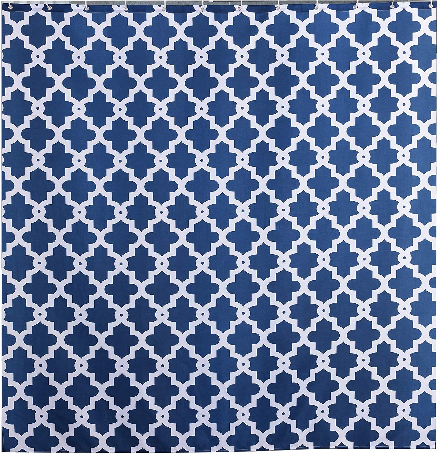 Sfoothome Geometric Printed Pattern,Mildew Proof and Waterproof Polyester Fabric Shower Curtain for Bathroom 180 W * 200 L Navy