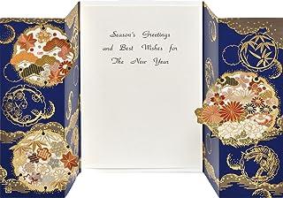 AAP36-1920 和風グリーティングカード/むねかた 金箔 重ね折 「雪輪」(中紙・封筒付) 金箔押 再生紙