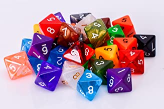 25 Count Assorted Pack of 8 Sided Dice - Multi Colored Assortment of D8 Polyhedral Dice
