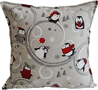 Tina Codazzo Home Federa cuscino Natalizio pinguini grigio e bianco