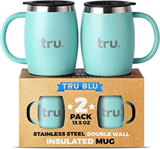 Camping Coffee Mugs with Lids (Set of 2) – Stainless Steel Travel Cup, Double Wall & Insulated Metal Mug with Handle - BPA Free, Shatterproof, Dishwasher Safe (13.5oz)