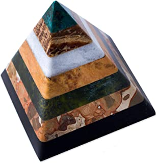 NOVICA 169542 Hand Crafted Multicolor Natural Gemstone Geometric Positive Energy Spiritual Healing Pyramid Sculpture, 3