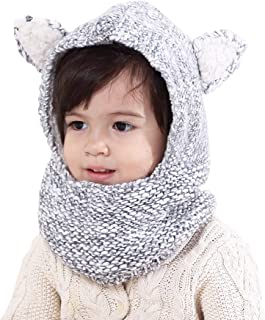 Baby Kids Warm Winter Hats Cute Thick Earflap Hood Hat Scarves with Ears