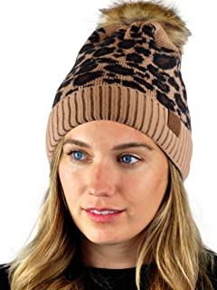 C.C Warm Knit Nylon Blend Animal Print Faux Fur Pom Cuff Beanie