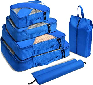 Kuyia Travel Packing Cubes, 6 Sets Luggage Organizers Neat Suitcase Space Saving, Blue