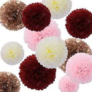 Fonder Mols 24pcs Tissue Paper Flowers - Burgundy and Rose Gold Party Decorations - Tissue Paper Pom Poms For Baby Shower, Wedding, Birthday - Paper Pom Pom Set