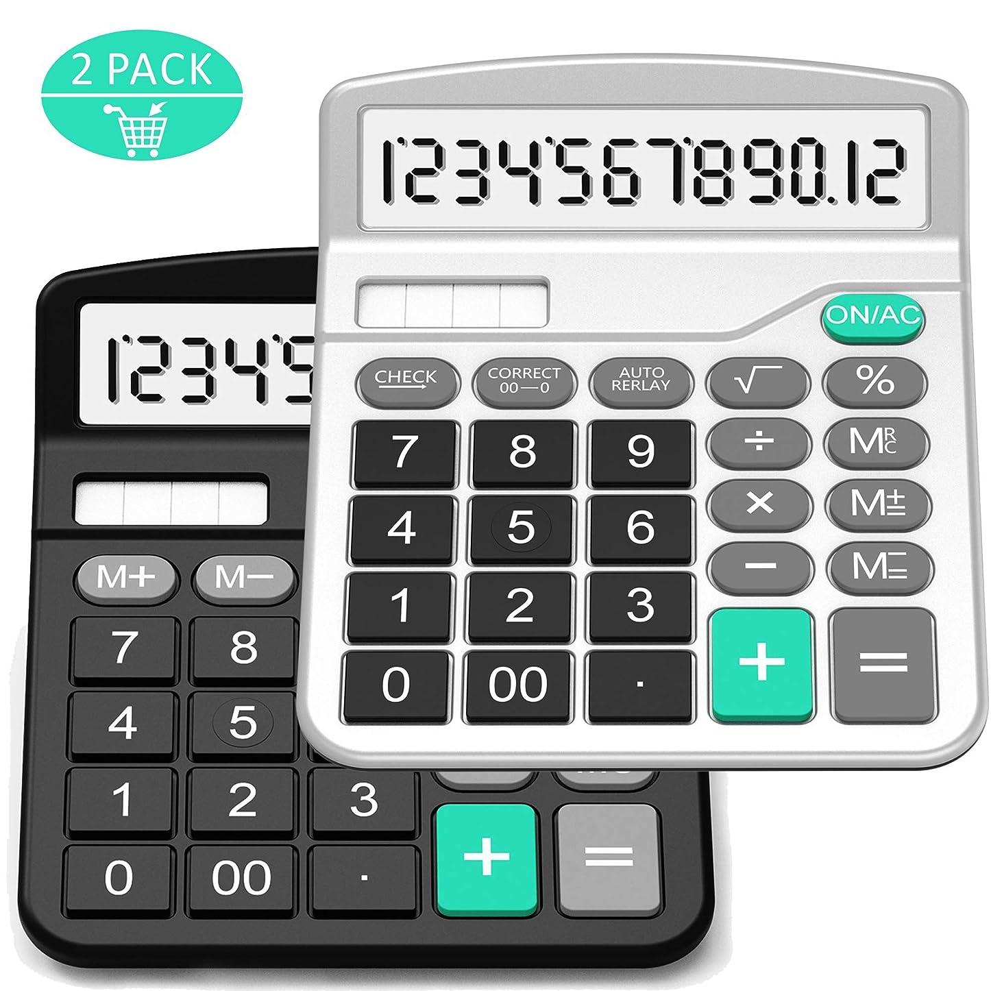 満足化学薬品カバーSplaks 電卓 標準機能デスクトップ電卓 ソーラーと単3電池 デュアルパワー電子計算機 12桁 大型表示