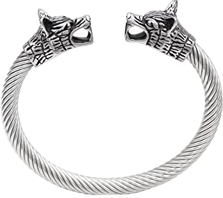 comprar comparacion Pulsera de acero inoxidable para hombre, diseño vikingo de doble cabeza de lobo, pulido