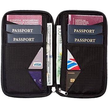 Cartera de Viaje para Documentos Portadocumentos para Viajes Porta Pasaportes Familiar con Bloqueo RFID