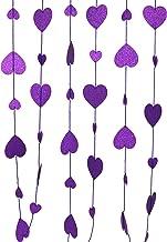 CVHOMEDECO. Golden Twinkle Glittered Paper Heart Shape String Garland Unique Hanging Bunting Banner for Wedding Birthday P...