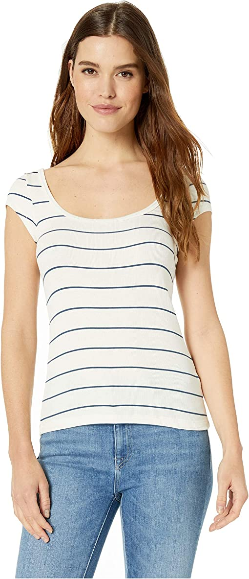 White/Blue Stripe 2X1 Rib