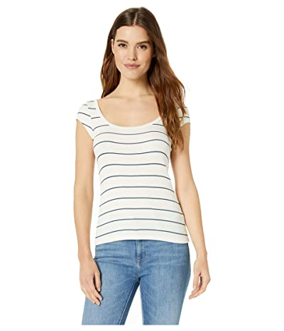 LNA Jolie Tee (White/Blue Stripe 2X1 Rib) Women