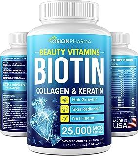Biotin Keratin & Collagen Capsules - Made in USA - Natural Marine Collagen, Keratin & Biotin for Hair Growth - Biotin & Co...