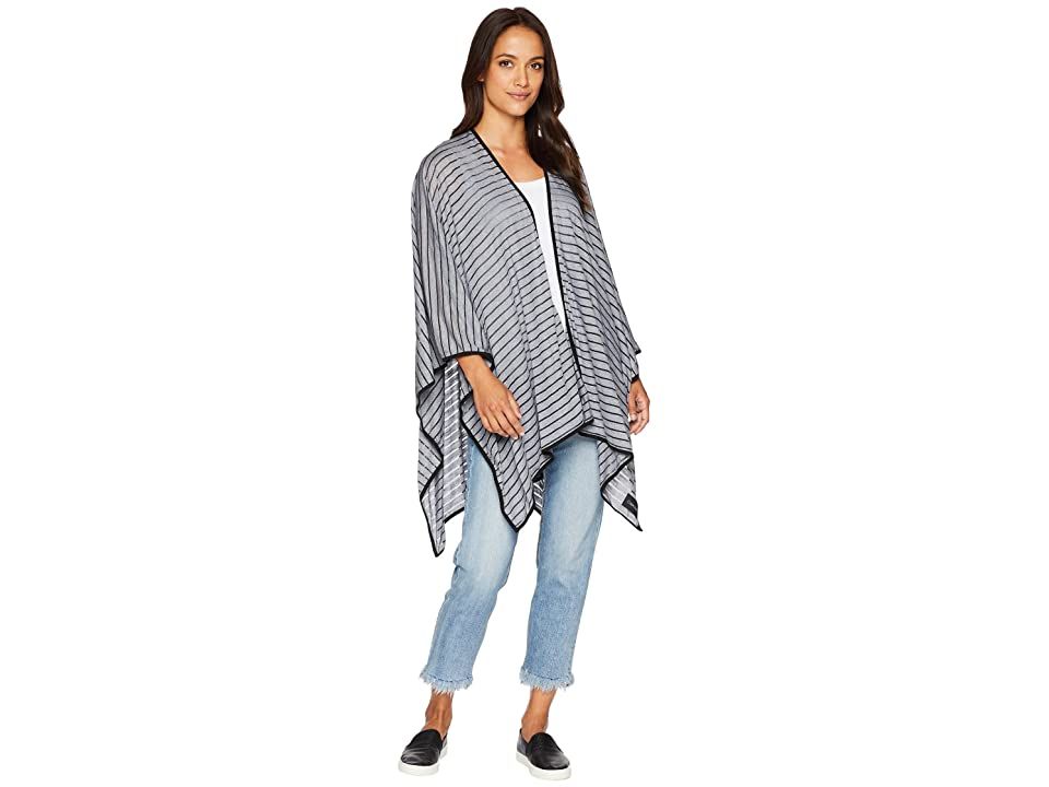 Calvin Klein Shadow Stripe Sporty Shawl (Black) Women