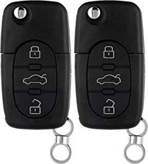 ECCPP Replacement fit for Uncut Keyless Entry Remote Control Car Key Fob Shell Case Audi Series MYT8Z0837231 (Pack of 2)