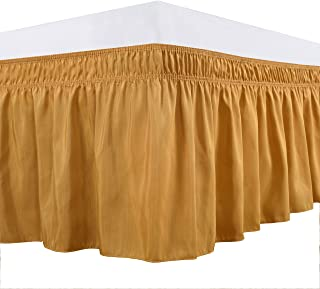 Biscaynebay Wrap Around Bed Skirts Elastic Dust Ruffles, Easy Fit Wrinkle and Fade Resistant Solid Color Luxrious Silky Fabric, Gold Full and Twin 15 Inches Drop