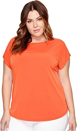 Plus Size Metal Ball Chain Short Sleeve Tee