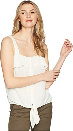 Sleeveless Tie Front Button Down Blouse
