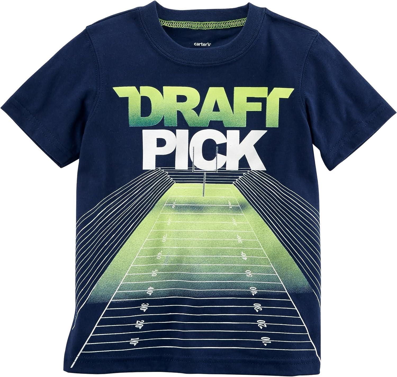 Carter's Boys' 2T-8 Short Sleeve Tee (8, Navy/Draft Pick)
