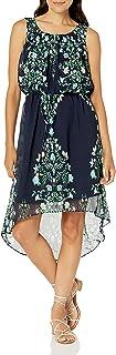 فستان بلوزة حريمي من Sandra Darren بدون أكمام مطبوع عليه أزهار من الشيفون