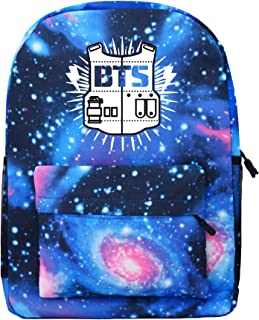 PINGJING Kpop BTS Starry Cartoon Backpack Bangtan Boys Support Satchel Schoolbag Casual Daypack Laptop Bags (Blue)