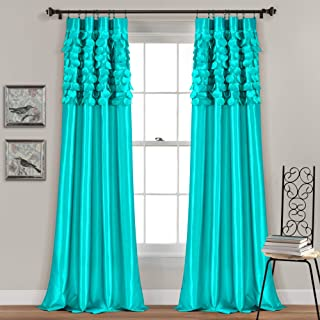 Lush Decor Circle Dream Window Curtains Panel Set for Living, Dining Room, Bedroom (Pair), 84