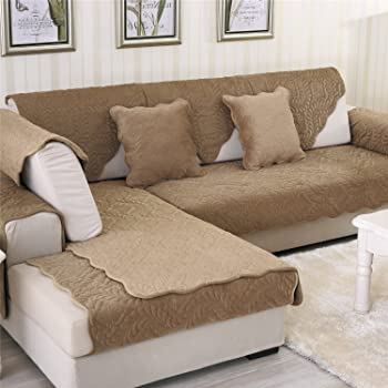 Amazon.com: OstepDecor Sofa Cover, Velvet Couch Cover, Quilted Sectional Couch Covers, Sofa Slipcover Seat Cushion Cover For Dog Cat Pet Love Seat Recliner Leather L Shaped Sofa, Coffee, 36 X 47 Inches: