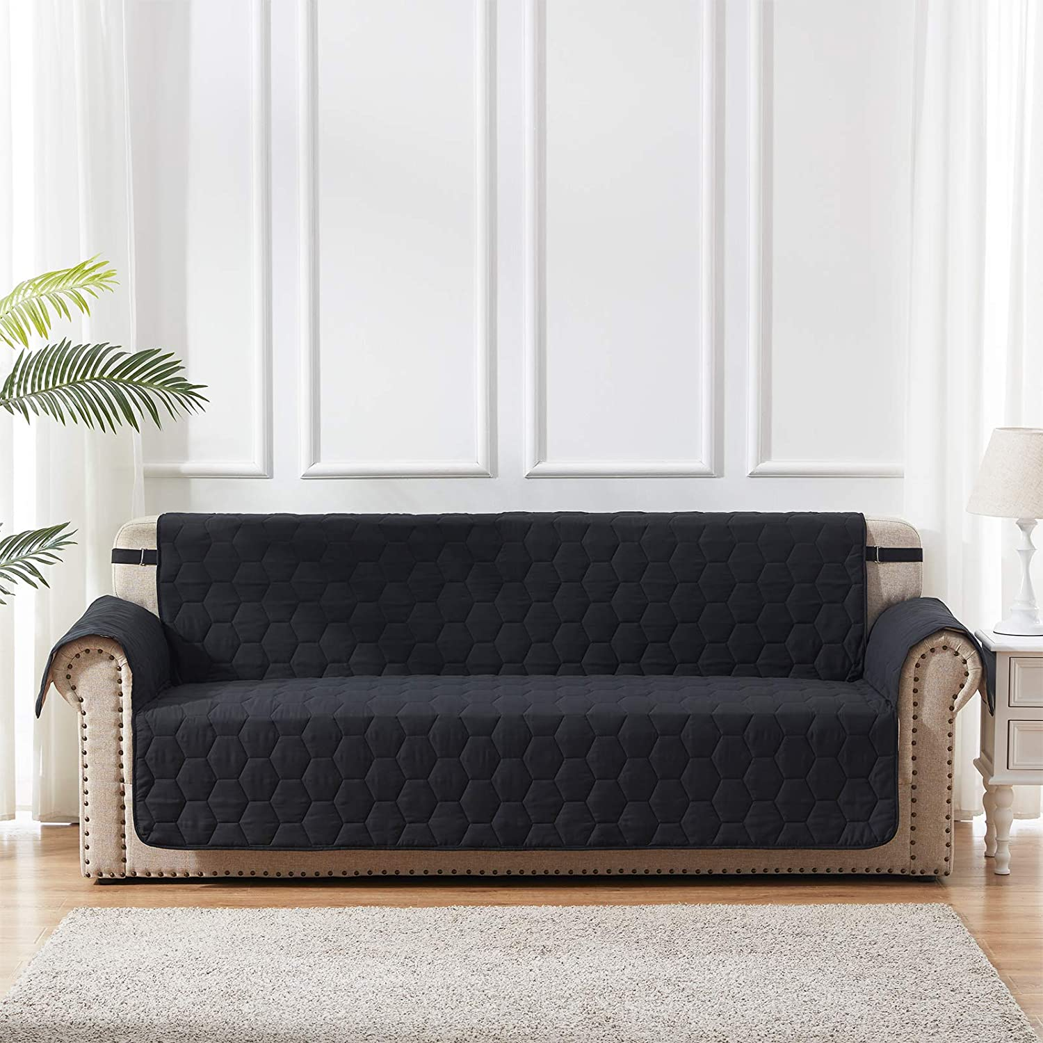 Black Loveseat Covers Furniture Couch Cover with Adjustable Elastic Strap and Non-Slip Backing for Dogs Cats Kids Honeycomb Quilted