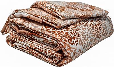 ShopKnot Pure Cotton Festive Double Bedsheet with 2 Pillow Covers - 180 TC (Orange)