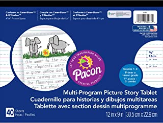 """Pacon  Handwriting Paper, D'Nealian Grades 1-3 / Zaner-Bloser Grade 2, 1/2"""" x 1/4"""" x 1/4"""" Ruled & 4-1/4"""" Picture Story Space 12"""" x 9"""", Ruled Long, 40 Sheets"""