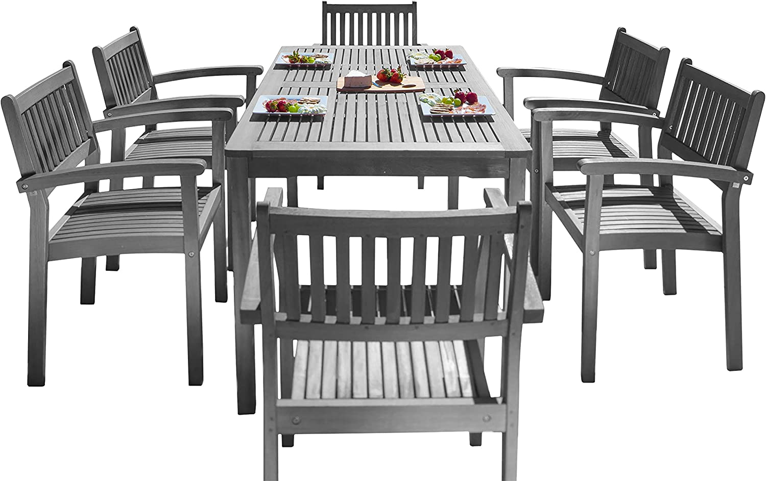 Vifah Renaissance National uniform free shipping Outdoor Patio 7-Piece Wood Dining Hand-Scraped Don't miss the campaign