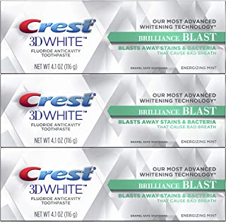 Crest 3D White Brilliance Blast Whitening Toothpaste, Energizing Mint, 3 Count