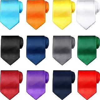 12 Pieces Boys Ties Clip On Neckties Pretied Tie Boys Solid Color Necktie Neck Strap Tie Formal Necktie with Elastic Neck ...